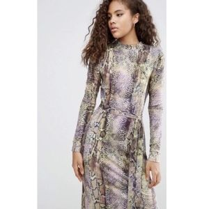 ASOS Snakeskin Knit Midi Long Sleeve Dress US 2